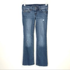 American Eagle Slim Boot Stretch Distressed Jeans
